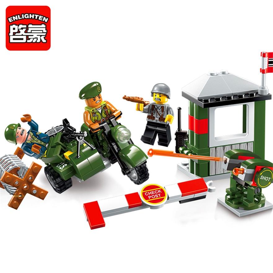 ENLIGHTEN 1702 Military Motorcycle Escape Alert Building Blocks Brick Set Compatible LegoIN Technic Playmobil Toys For Children