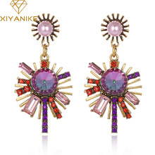 XIYANIKE Fashion Vintage Zircon Crystal Lady Pendant Earrings Bohemia Gold Color Earrings For Women Gift Statement Jewelry E518(China)