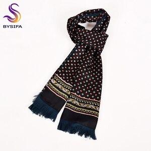 Image 3 - [BYSIFA] גברים עסקים שחור משי צעיף לעבות סתיו חורף זכר 100% טבעי משי ארוך צעיפים עניבות צוואר צעיף עניבת 165*24cm