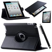 Caso de la Cubierta Para Apple iPad Air 2/iPad 6 (2014) PU Del Tirón Del Cuero Elegante Del Soporte 360 Que Giran la Caja Film Protector de Pantalla Stylus Pen