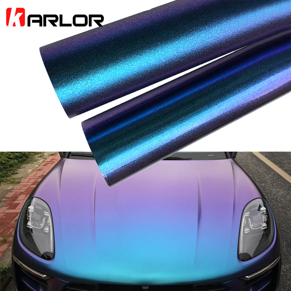 50x200cm Glossy/Matt Blue Purple Chameleon Pearl Glitter Vinyl Sticker Automobiles Car Wrap Film Decal Car Decoration Styling