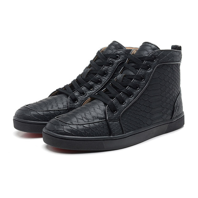 e3278ce080b Sneakers Men Black White Blue Brown Quality Mens Snakeskin Red Bottom Mens  Shoes Casual Red Bottoms