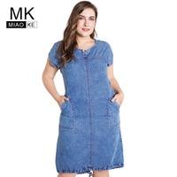 Miaoke 2019 Summer ladies Plus Size denim dress for women clothes Round Neck Pockets elegant 4xl 5xl 6xl Large Size party Dress