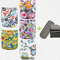 Super Quality 5pcs New Diaper Cloth Fabric Bamboo For Your Selection+5pcs Bamboo Charcoal Inserts(5sets)