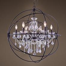 Modern Vintage Orb Crystal Chandelier Lighting Candle Chandeliers LED Pendant Hanging Light for Home Hotel Decoration