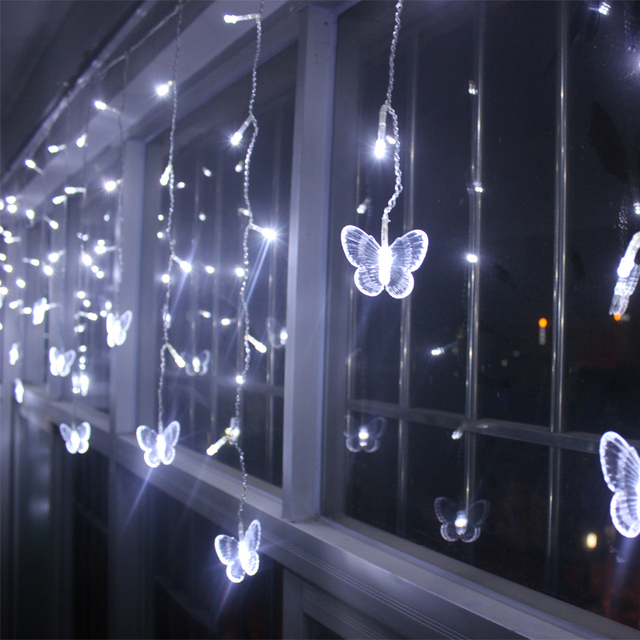 4m LED Curtains Butterfly Garland string lights christmas new year ...
