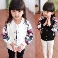 Moda primavera outono Casual do esporte meninas do bebê crianças dos miúdos impressão Flora jaquetas de beisebol Outwear casacos Cardigan S3370