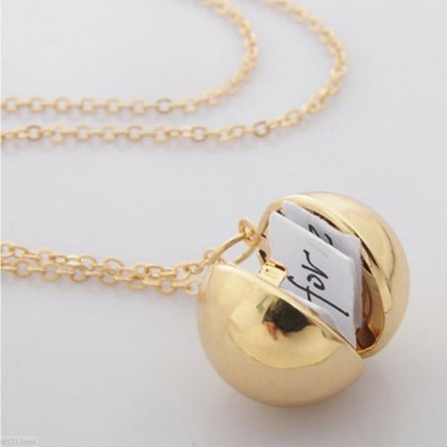 Conception Unique caché Message Secret balle médaillon collier chandail chaîne amour promesse proposition pour les femmes bijoux