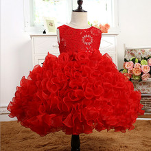 New Baby Girls Formal Wear Flower Dress Children Kids Prom Red Dresses Girls Clothes Floral Girl Party Dress Wedding Ball Gown
