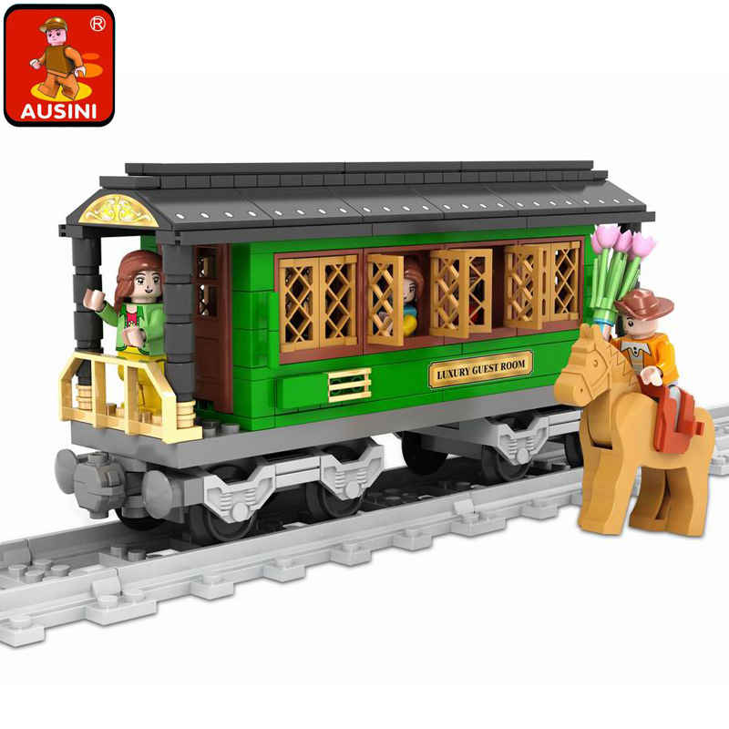 Model building kits compatible with lego city rail train 008 3D blocks Educational model building toys hobbies for children