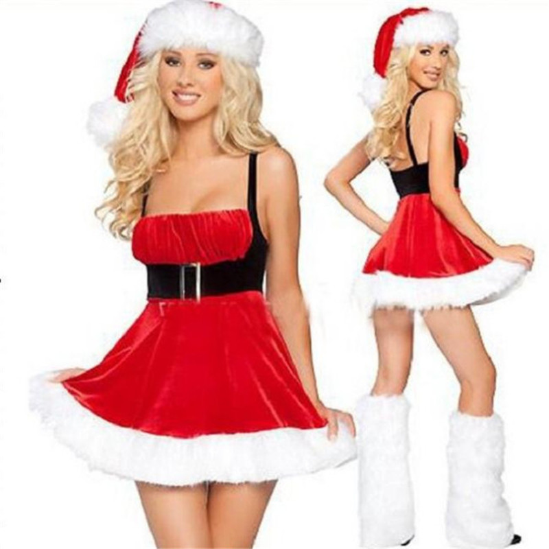 Women Game Anime Cosplay Christmas Costumes Bra Sling Dress Waist Fleece Feet Little Red Riding Hood Long Hair Costume