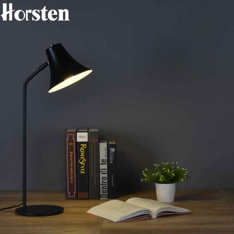 Horsten American Vintage Retro Industrial LED Desk Lamp Nordic Iron Black Table Lamp Reading Study Desk Lamps E27 AC90-260V the nordic industrial retro wrought iron room study reading desk lamp material iron e27 size w16cm h50cm ac110 240v