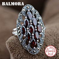 2016 New Retro 100 Real 925 Sterling Silver Jewelry Red Garnet Elegant Rings For Women Men