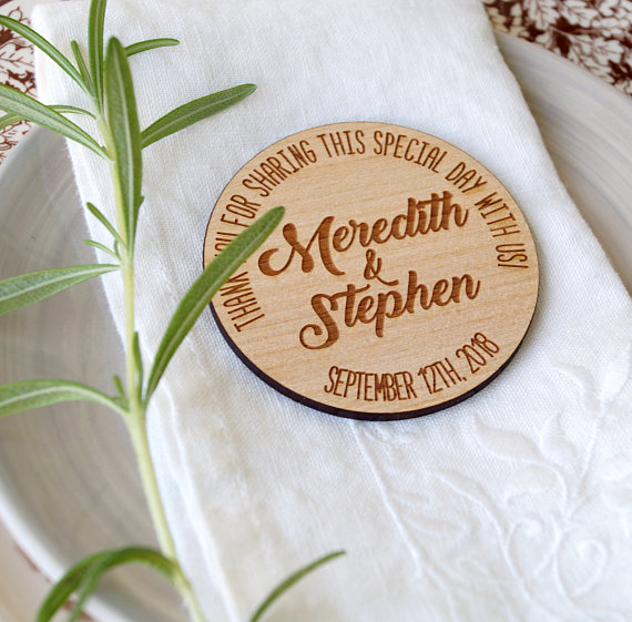 Wooden Magnets Personalized Wedding