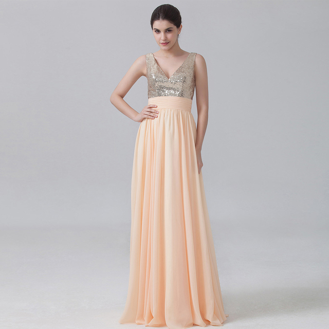 Peach Champagne V Back Long A Line Chiffon Bridesmaid Dresses with Sequin  Top Elegant Lovely Formal Dress for Bridesmaid RWB13 eb6c750ea7ce