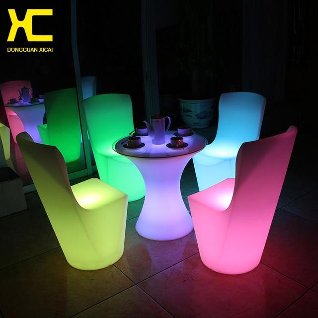 Аккумуляторная мебель для дома пластиковые открытый сад стул пульт дистанционного управления беспроводная мебельный гарнитур из светодиодов с подсветкой столовая стул