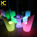 Rechargeable Home Furniture Plastic Outdoor Garden Stool Remote Control Cordless Furniture Set LED Illuminated Dining Room Chair