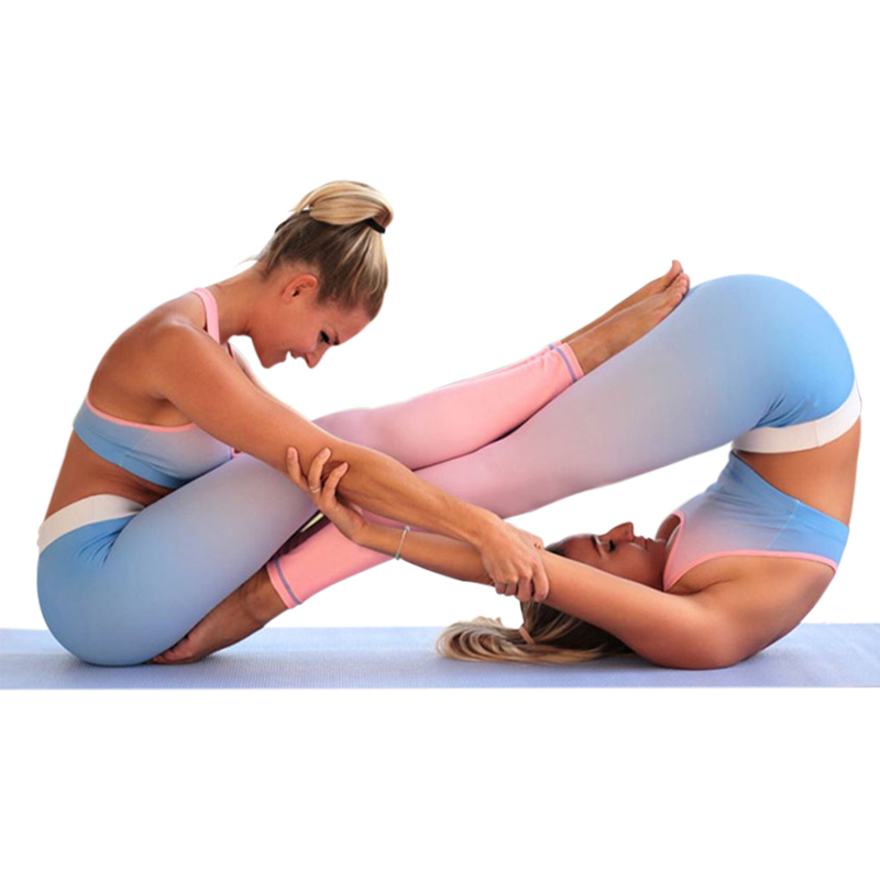 Plus Size Leggings Sporting Fitness Women 2018 Gradient High Waist Elastic Leggins Sexy Workout Push Up Trousers Pants For Women