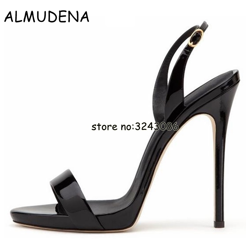 Women Stiletto Patent Leather Thin Heels Open Toe Buckle Strap Sandals Gladiator Style Lady Summer High Heels Shoes Plus Size 13 women pointed toe buckle thin high heels red bottom sandals shoes t strap print leather plus size lady sandals 42 51 sxq0710