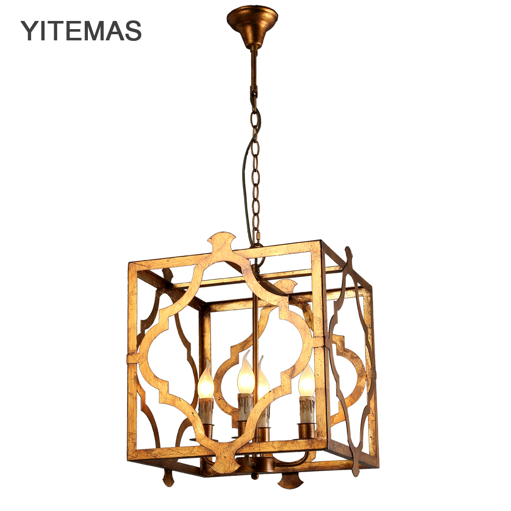 Vintage retro pendant suspension hanging light fixture antique gold painting lamp square shade metal frame lamparas e14 holder diy antique brass retro guard wire cafe loft droplight fixture iron cage pendant light hanging fitting metal frame lamp holder