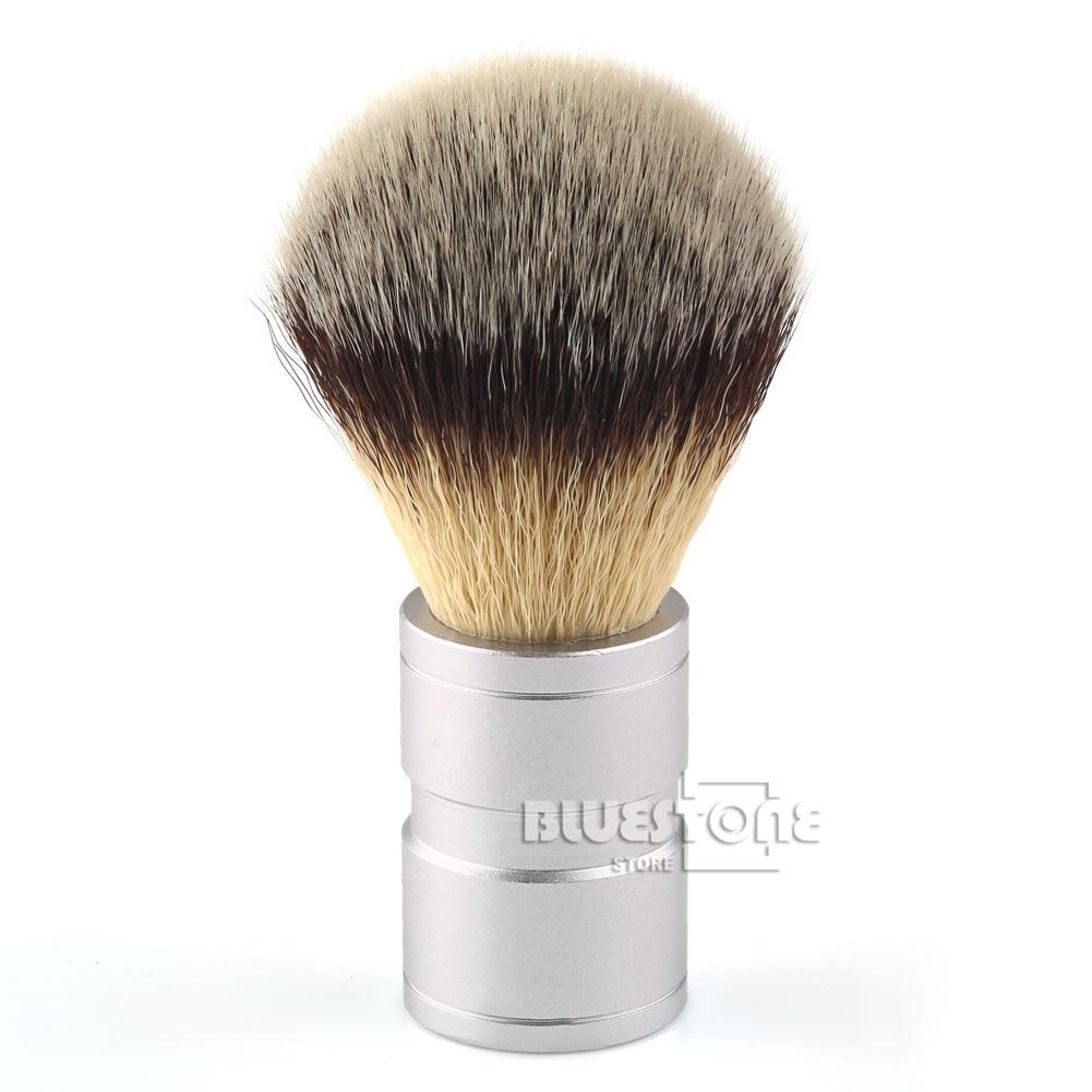 Nya Mäns Gåva Silvertip Faux Badger Hår Rakbørste Stainless Metal Handle Barber Tool