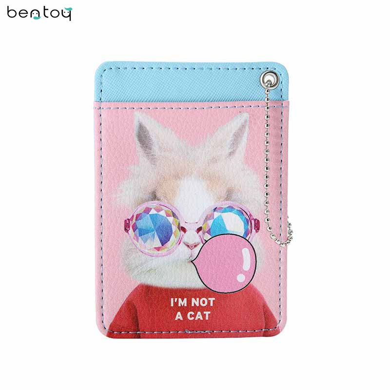 Bentoy Funny Cat Women Leather Card Holders Travel Driver License Cover Keychain Bus Card Holder Mini Pocket Money Purse 3d qubiclife london bus stereo card creative travel card
