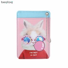 Bentoy Funny Cat Women Leather Card Holders Travel Driver License Cover Keychain Bus Card Holder Mini Pocket Money Purse(China)