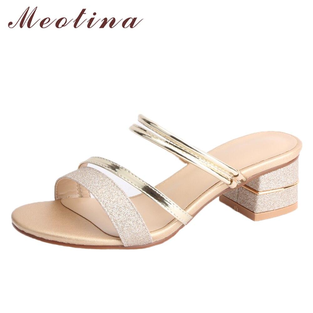 Meotina Brand 2018 Summer Sandals Women Block Heels Slippers Peep Toe High Heels Female Party Shoes Gold Hot Sale Big Size 33-43 цена 2017
