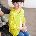 Crianças meninas cardigan camisola camisa com ar-condicionado roupas de proteção solar criança modelos finos 2016 casaco novo camisola