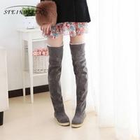 Flock snow boots women flats high knee boots plus velvet shoes Korean version boots with fur black grey 2018 winter