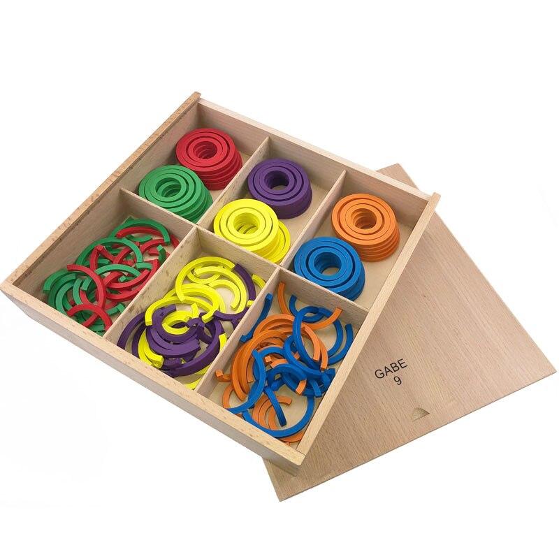 Bébé Frobel Gabe9 aides pédagogiques jouets coloré courbe cercle d'apprentissage jouets en bois pour enfants préscolaire éducatif précoce unisexe - 2
