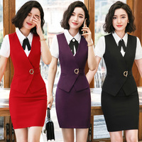 IZICFLY New Style Summer Business Suit Skirt And Tops Vest Waistcoat Office Uniform Formal Skirt Suits For Women Work Wear Red