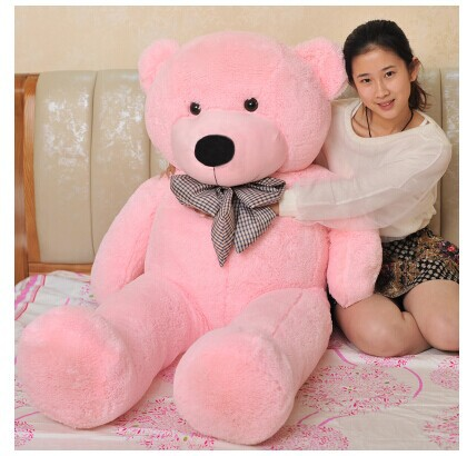 stuffed animal lovely teddy bear 140cm pink bear plush toy soft doll throw pillow gift w3376 new stuffed light brown squint eyes teddy bear plush 220 cm doll 86 inch toy gift wb8316