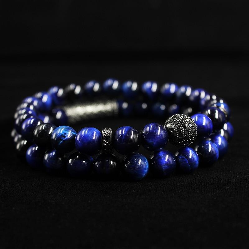 2018 New 2Pcs/ Set of Luxury Natural Tiger Eye Stone Bracelet Ladies And Gentlemen Jewelry Necklace Bracelet Gift Men's Bracelet 1