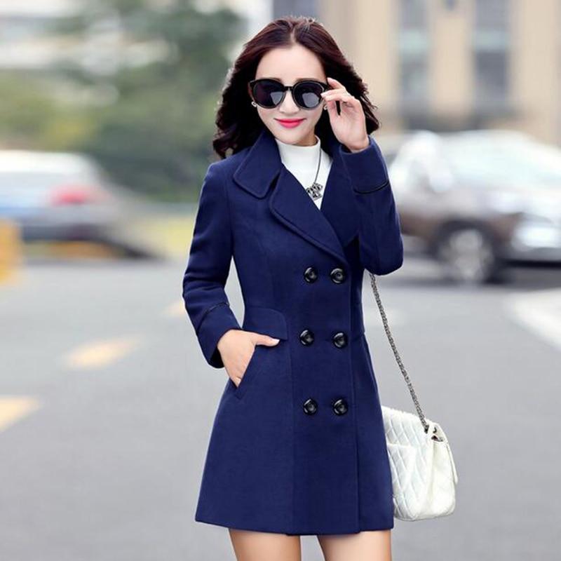 Autumn winter 2017 new fashion women's wool coat double breasted coat elegant bodycon cocoon wool long coat tops LU308