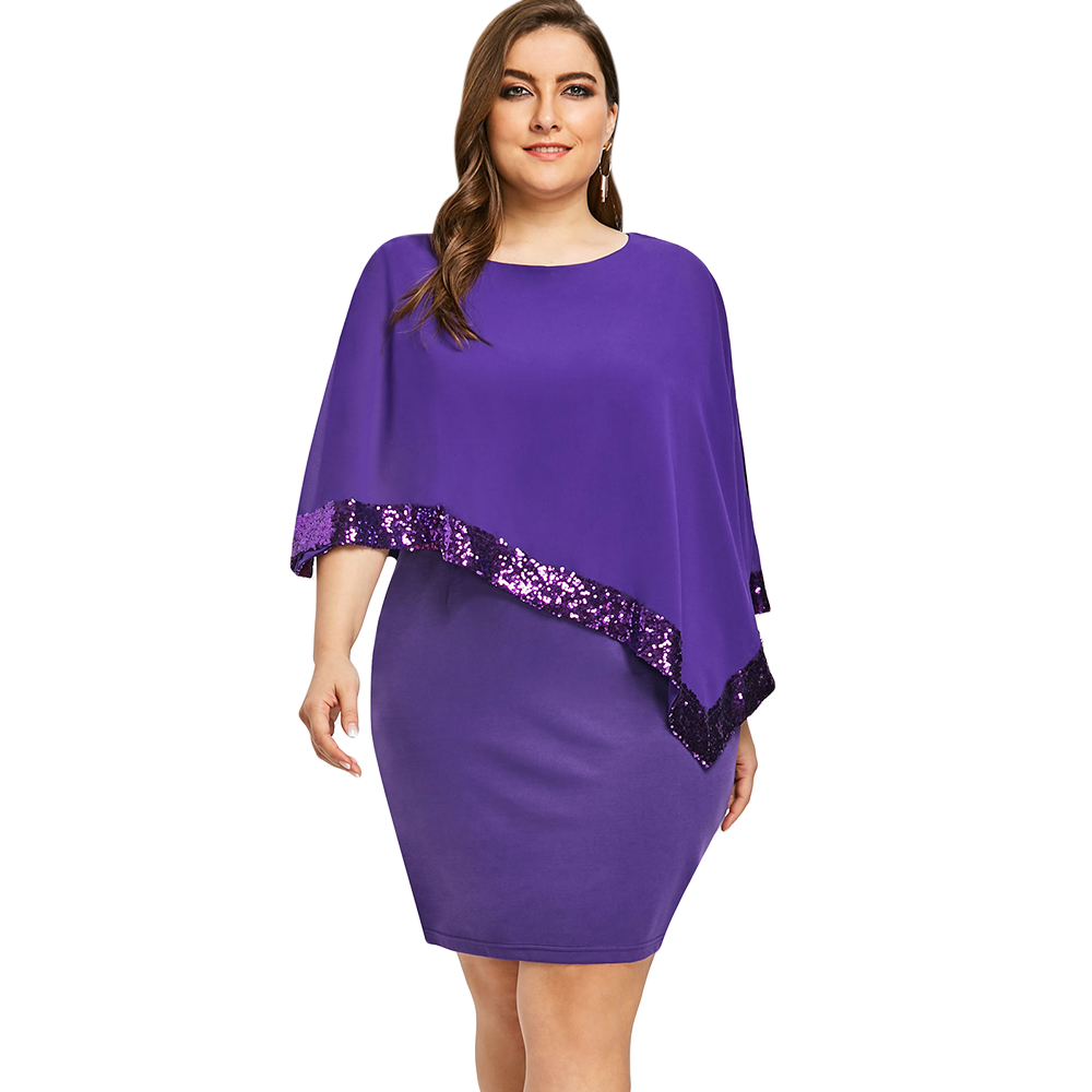49a9f70fa0b Gamiss Plus Size Sequins Capelet Overlay Dress Women Fashion 2018 Black  Party Dress Chiffon Panel O Neck Sheath Dress Vestidos-in Dresses from  Women s ...