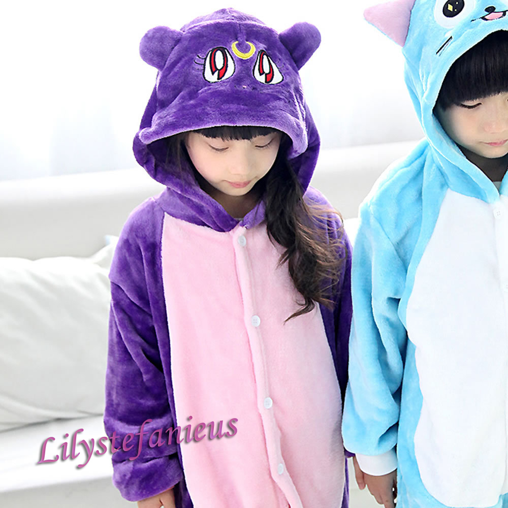 fc2173d8d839 2015 New Sailor Moon Luna Fairy Tail Happy Unisex Kids Warm Costume Cosplay  Anime Animal Onesie Party Halloween Sleepwear-in Men s Costumes from  Novelty ...