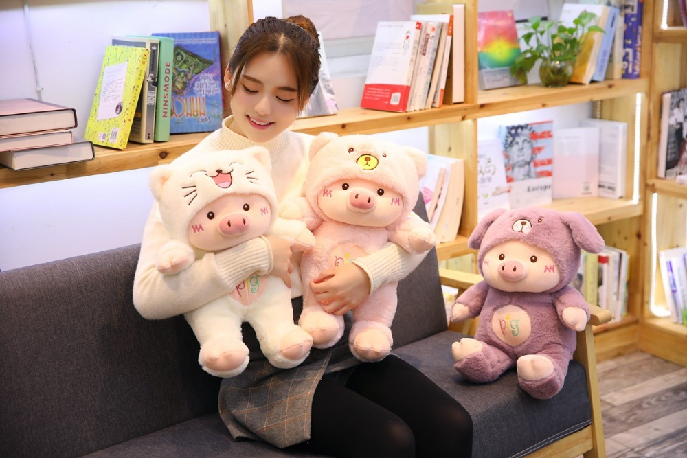 dressed hat design creative cartoon pig plush toy,soft doll throw pillow birthday gift h2587