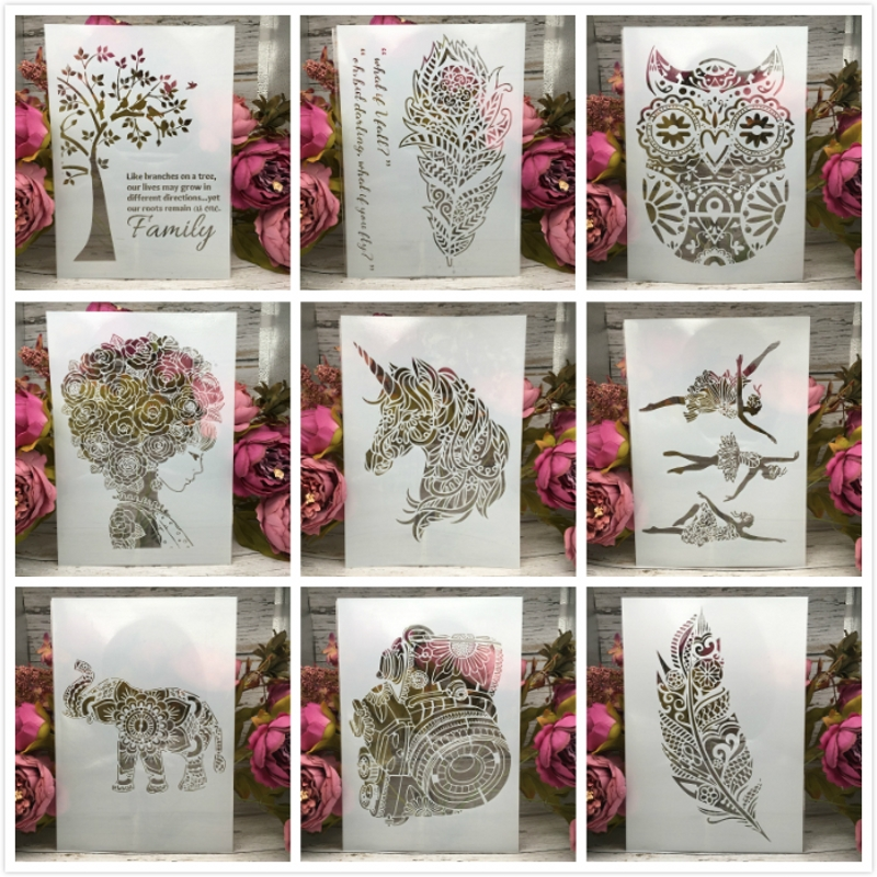1Pcs A4 29cm Unicorn Flower Hair Girl Feather Owl DIY Layering Stencils Paint Scrapbook Coloring Embossing Decorative Template