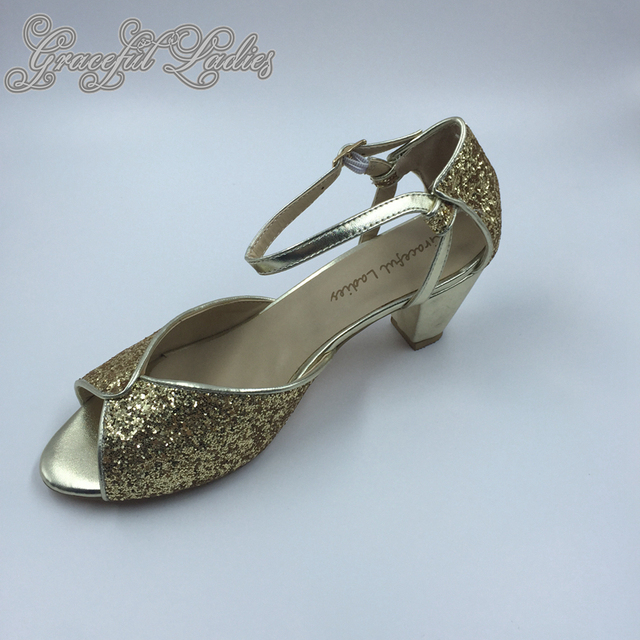 0b77b446f1cc Gold Sequin Block Heel Open Toe Women Sandals Plus Size Custom Bridal  Wedding Shoes Glitter Dance Pump Sandal Ankle Strap
