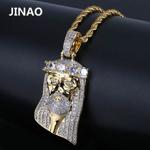 JINAO New Fashion Copper Gold Color Plated Iced Out Jesus Face Pendant Necklace Micro Pave Big CZ Stone Hip Hop Bling Jewelry