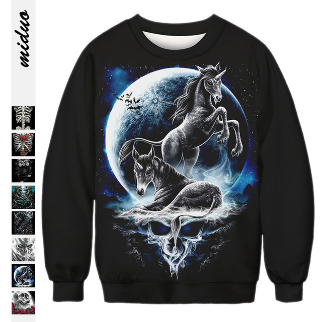 f73e52816947 2018 Halloween Gothic Sweatshirts Women 3D Hoodies Weed Rose Terrorist  Zombies Skull Unicorn Rip Cat Rock Loose Pullover Tops