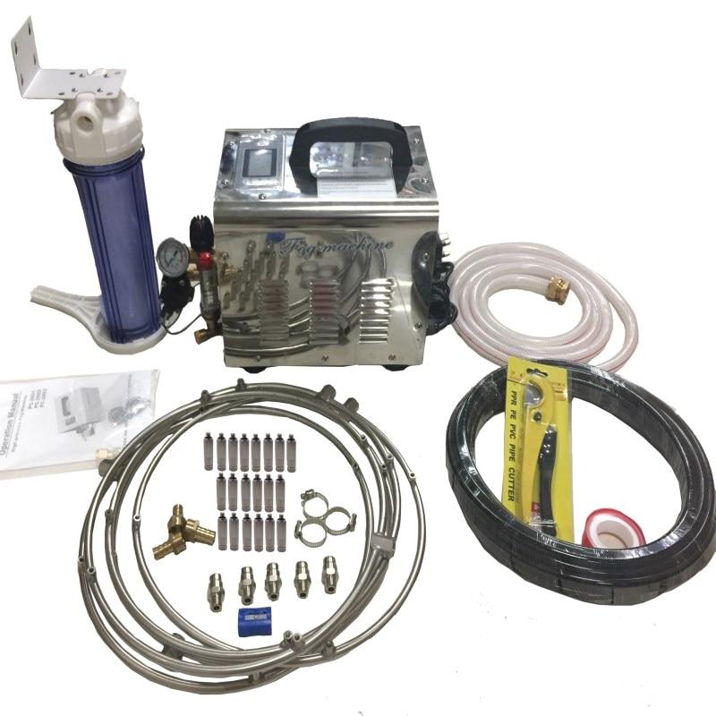 F050 High Pressure Garden Sprayer Fog Machine for Greenhouse Mist Water  System--1L Mist Pump+5PC SS Fan Ring+ 20PC Mist Nozzle