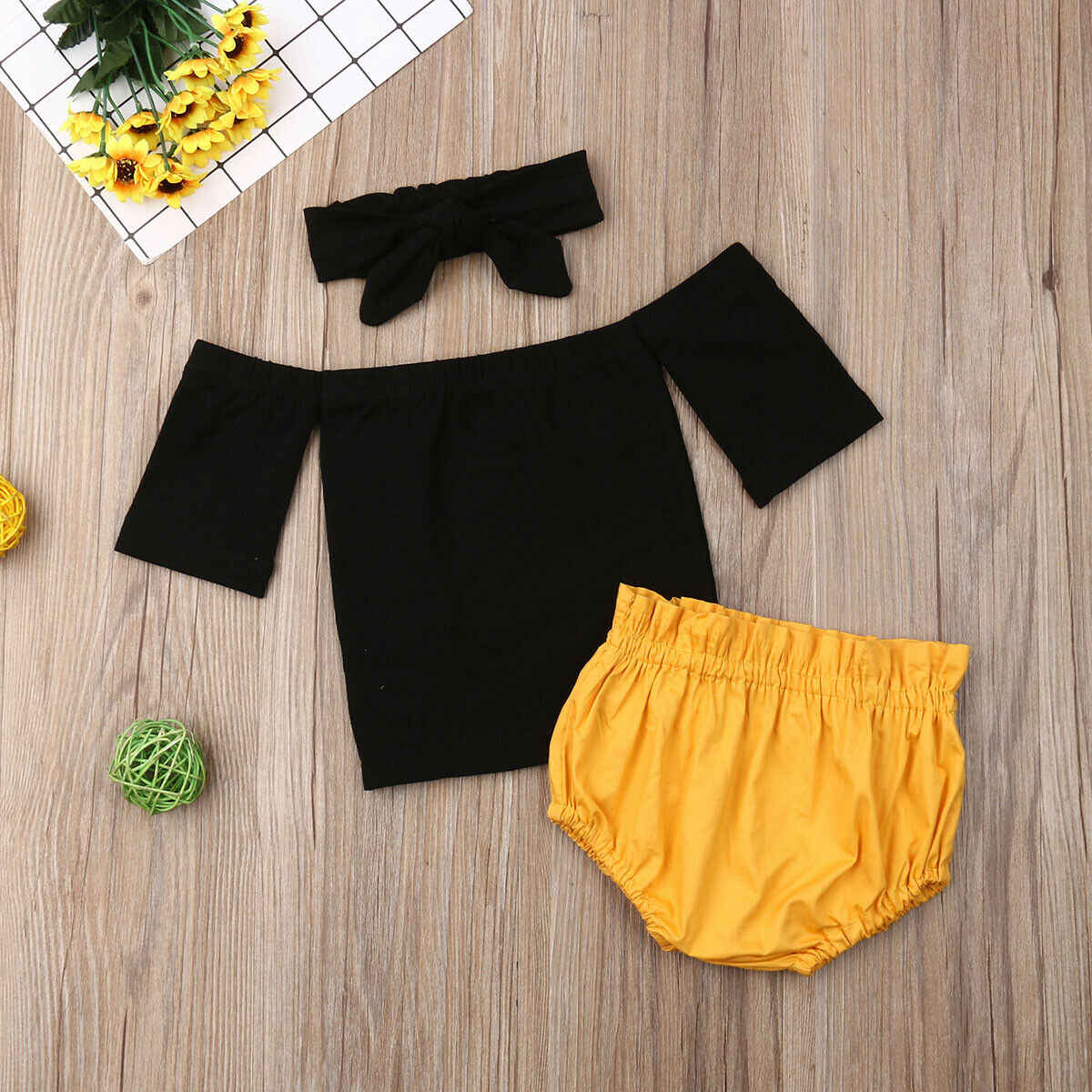 ฤดูร้อน 0-24 M เด็กทารกน่ารักเสื้อผ้าชุดนอกไหล่สีดำเสื้อ + กางเกงขาสั้น + Headband Outfits ชุด