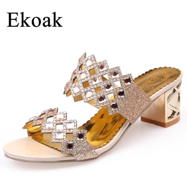 Ekoak 2017 Hot Fashion rhinestone cut-outs party women high heel sandals ladies summer shoes woman sandals Size 35-41