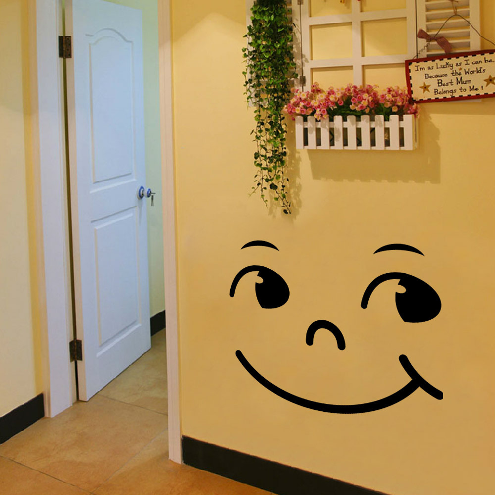 Brand 2017 Wall Stickers Cute Smile Face Bedroom Living Room Walls ...