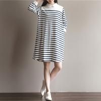 2016 Autumn New Pattern Casual Loose A Doll Collar A Skirt Restore Ancient Ways Stripe