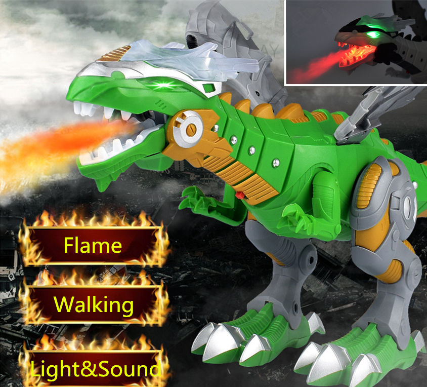 Jurassic Electric Dinosaurs Model Toys Walking Simulation Spray Flame Dinosaur Robot With Light Sound Swing Dinosaur Model Toy