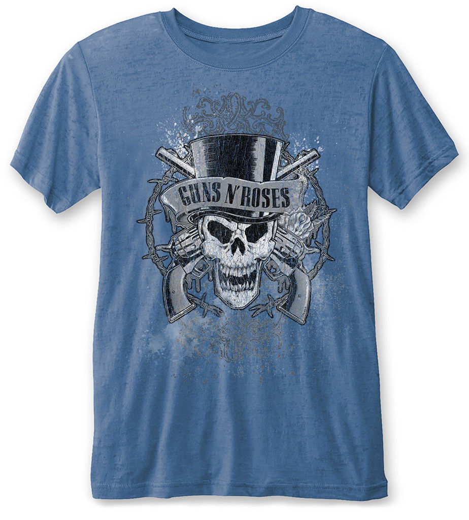 Guns N Roses Faded Skull (Blue) Burnout T-Shirt Male Pre-Cotton Clothing 100% Cotton