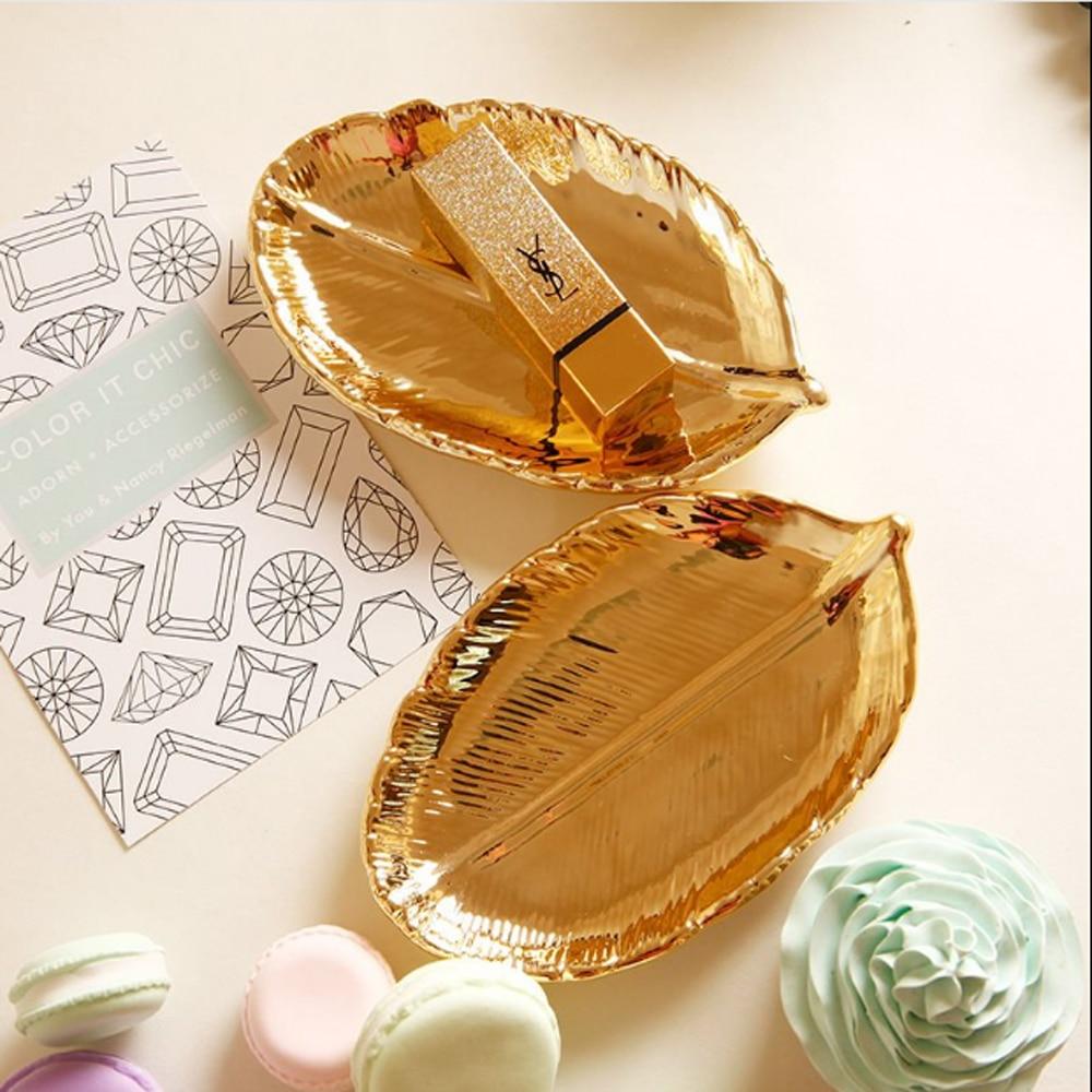 Gold Leaf Jewellery Tray Ceramic Trinket Dish Ring Earrings Organizer Home Decorative Housewarming Gift
